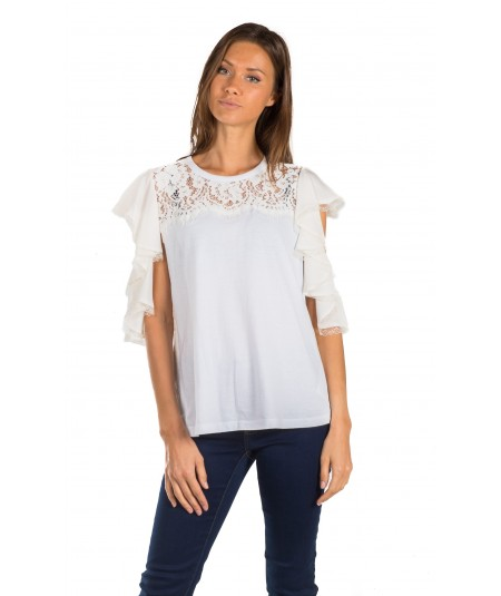 TWINSET T-SHIRT CON PIZZO PS82UC AVORIO