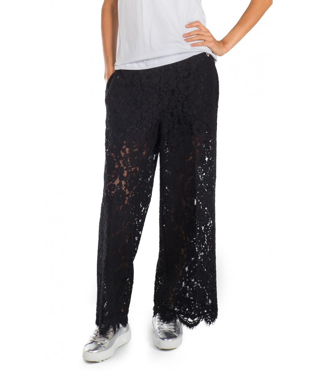 best website 8ee43 0705f TWINSET PANTALONI PALAZZO IN PIZZO MACRAME' PS82XC