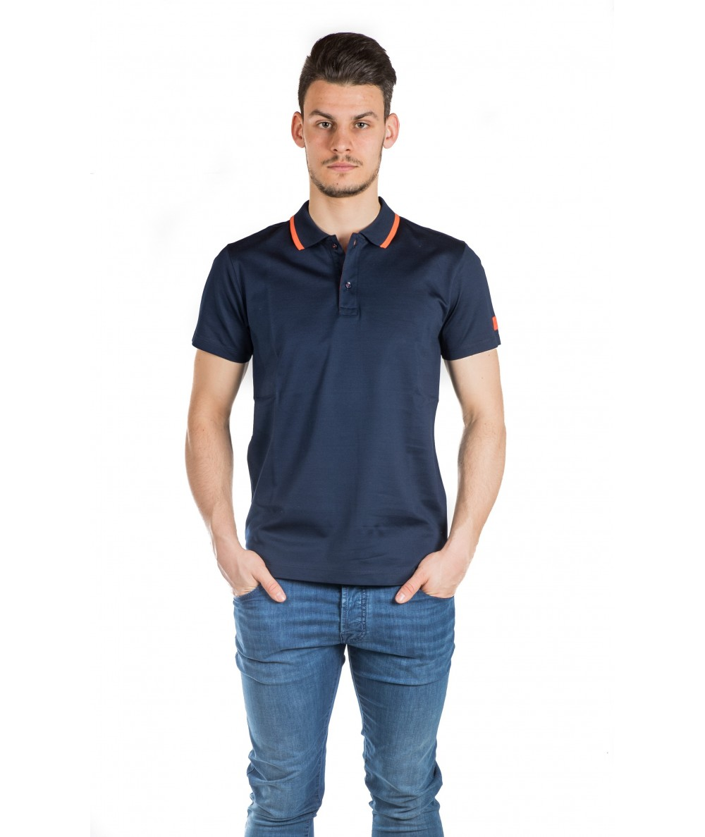 PAUL & SHARK POLO MM CON DETTAGLI FLUO P1377SF BLU