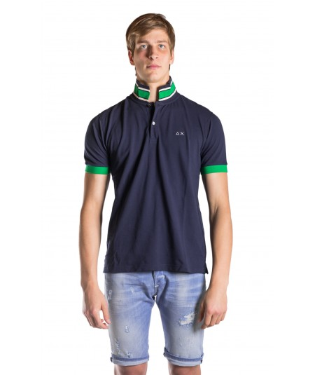 SUN 68 POLO MANICA CORTA CON COLLETTO TRICOLORE A18119 BLU NAVY