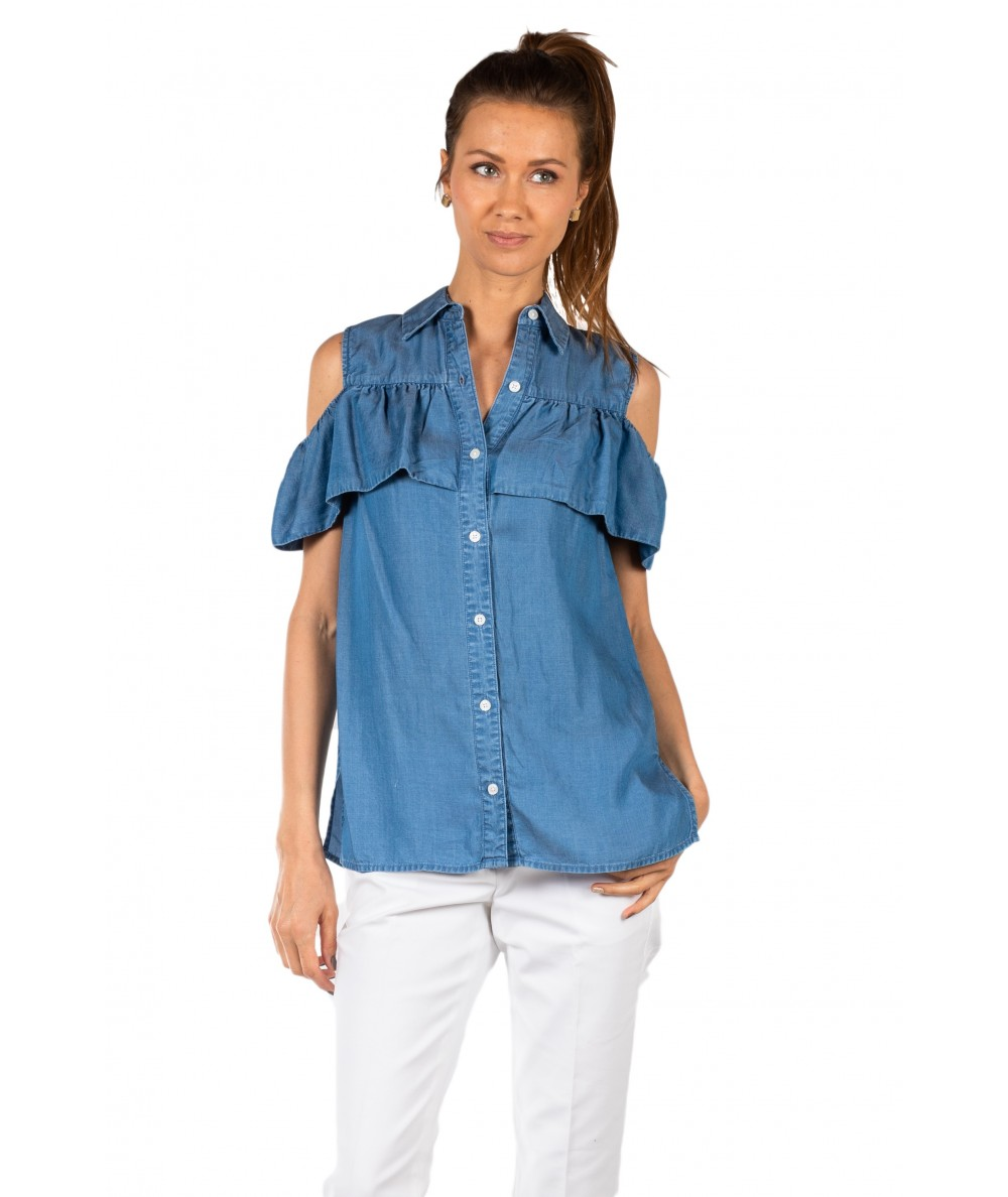 MICHAEL KORS BLUSA MS84L7J5FS IN CHAMBRAY CON SPALLE SCOPERTE