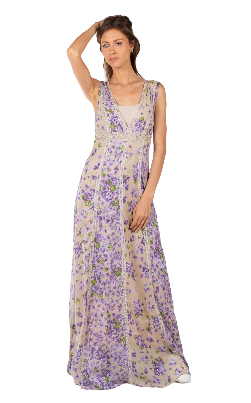 Ps82x2 Lungo Violette Floreale Abito Twinset CsdhrtQ