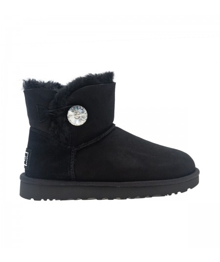 UGG MINI BAILEY BUTTON BUTTON BLING BLACK BOOTS