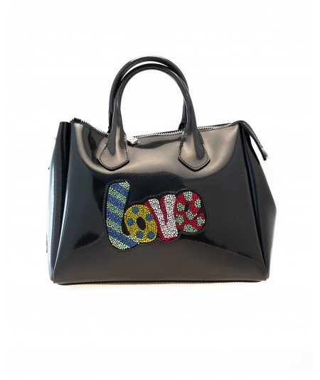 Gum by Gianni Chiarini black clutch bag with fringe