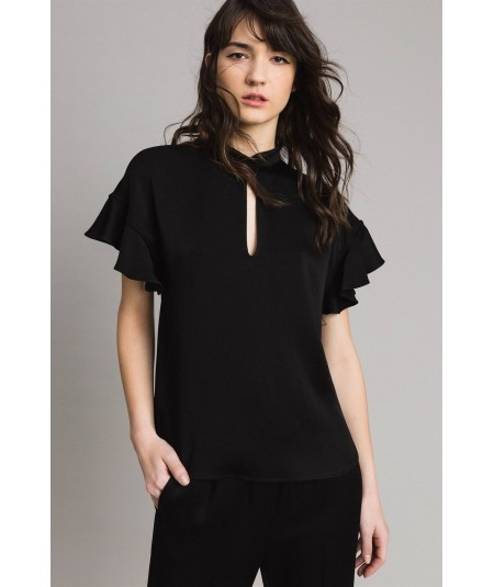 TWINSET BLUSA IN CADY ENVER SATIN TP2694 NERO
