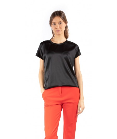 PINKO FARISA T-SHIRT IN SATIN STRETCH NERO