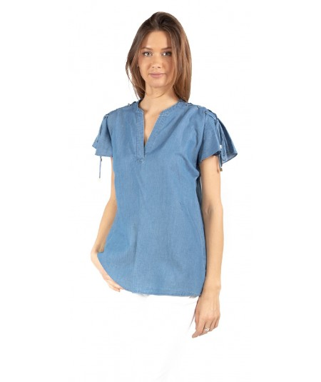 MICHAEL KORS BLUSA IN CHAMBRAY MH84LNT9HH