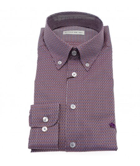ETRO CAMICIA CON FANTASIA STAMPATA GEOMETRICA VIOLA BORDEAUX BOTTON DOWN SLIM FIT 1K964 6007 400