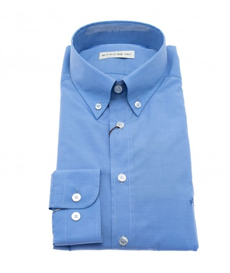 ETRO CAMICIA AZZURRA BOTTON DOWN SLIM FIT CON LOGO 1K964 6100 251