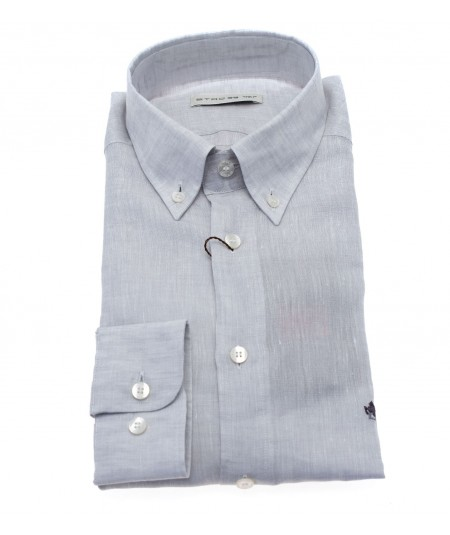 ETRO CAMICIA LINO GRIGIA BOTTON DOWN SLIM FIT CON LOGO  1K964 6700 2
