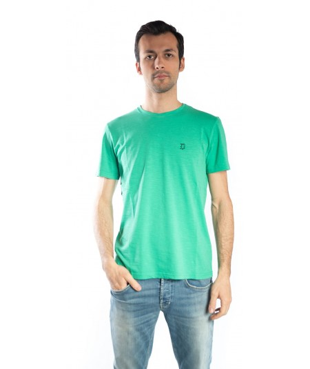 DONDUP GREEN WATER T-SHIRT WITH EMBOIRED LOGO, MODEL US208