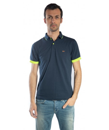 SUN68  POLO BLUE NAVY SMALL STRIPES COLLAR EL. FLUO A19117