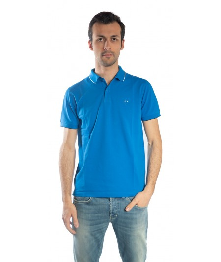 SUN68  POLO BLUE ROYAL SMALL STRIPES COLLAR EL. 19106
