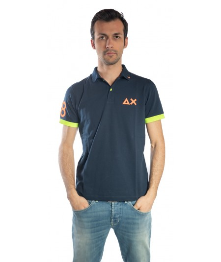 SUN68 BLUE POLO NAVY PATCH FLUO EL. A19118