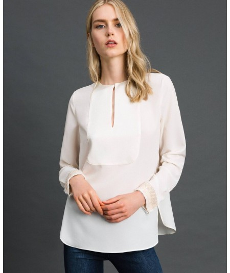 TWINSET ENVERS SATIN BLOUSE WITH PEARL EMBROIDERY 192TT2320 WHITE SNOW