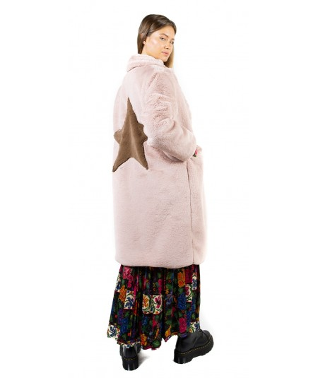 SHIRTAPORTER ECO LAPIN COAT WITH STAR INLAY JA1871 PALE PINK