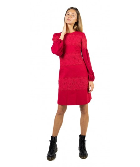 TWINSET FLARED RED DRESS WITH MACRAME' LACE 192TT2211