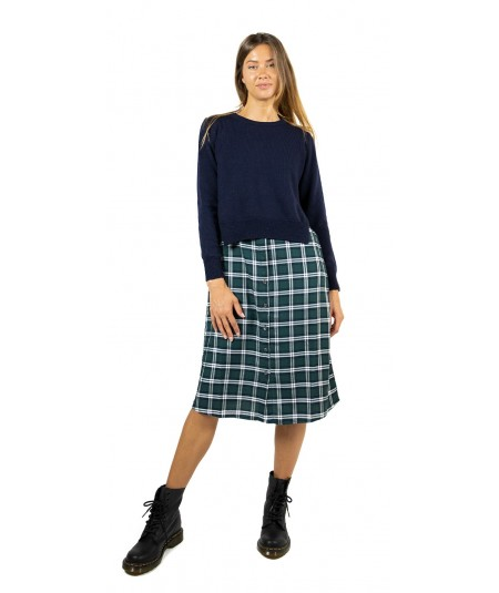 SEMICOUTURE SALLY DRESS WITH CHECK LONG SHIRT AND WOOL TOP Y9AA13