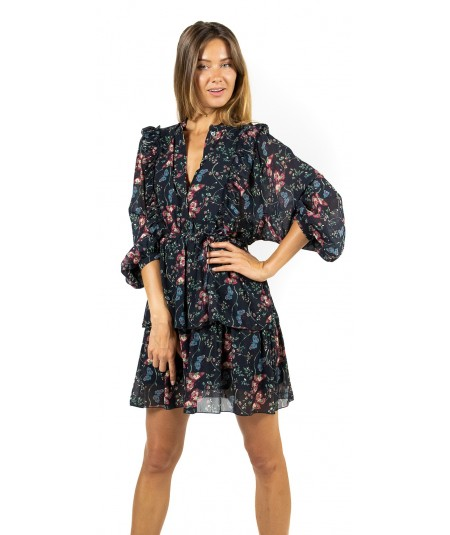 SEMICOUTURE GEORGETTE MINI DRESS WITH ROUCHES Y9AT03