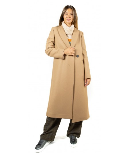 SEMICOUTURE CAPPOTTO ADELLE IN PANNO BEIGE Y9AV12