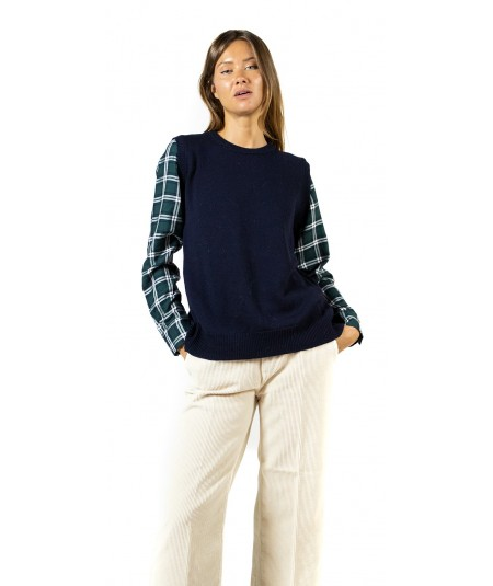 SEMICOUTURE CHICCO SWEATER WITH CHECK LONG SLEEVES AND WOOL TOP Y9AA12