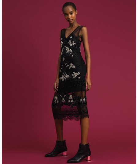 TWINSET PLUMETIS TULLE DRESS WITH VELVET AND EMBROIDERIES 192TT2041 BLACK
