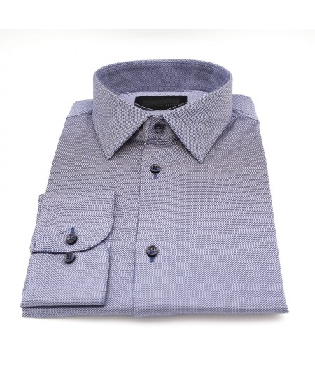 RRD CAMICIA OXFORD JACQUARD REGULAR FIT IN TESSUTO OPERATO CON MICRO FANTASIA W19255-11/GRIGIO SCURO