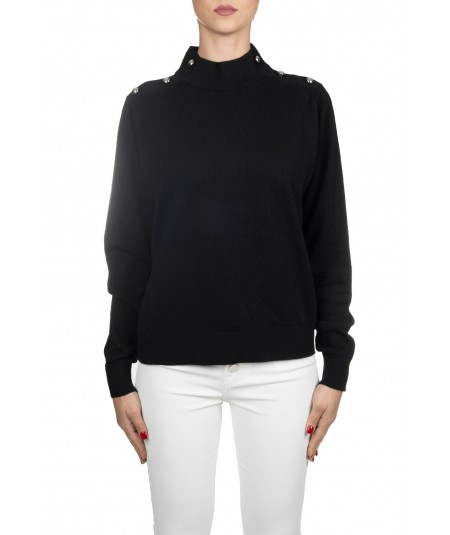 PINKO TURTLENECK WOOL SWEATER WITH BLACK ELBOW PATCHES SOLTANTO BORDEAUX