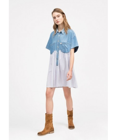 SEMICOUTURE ABITO CHEMISIER VINTAGE IN DENIM CANDINE Y0SY51