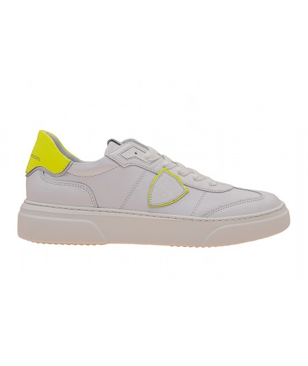 PHILIPPE MODEL SNEAKERS TEMPLE LOW BIANCO E GIALLO FLUO BDLU VF01