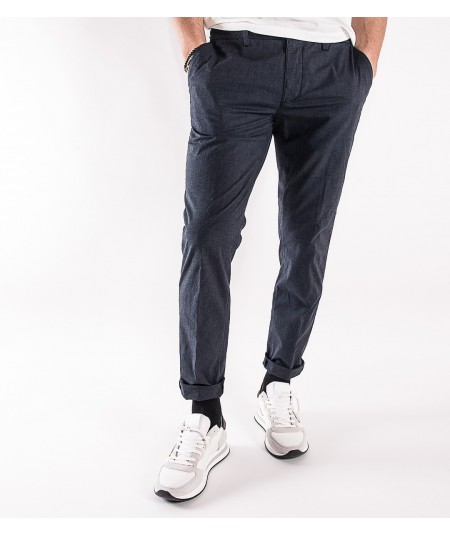 CRUNA PANTALONE NEW TOWN IN COTONE STRETCH NAVY BLU E ANTRACITE