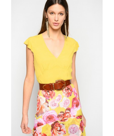 PINKO POP CORN TOP IN CREPE GIALLO