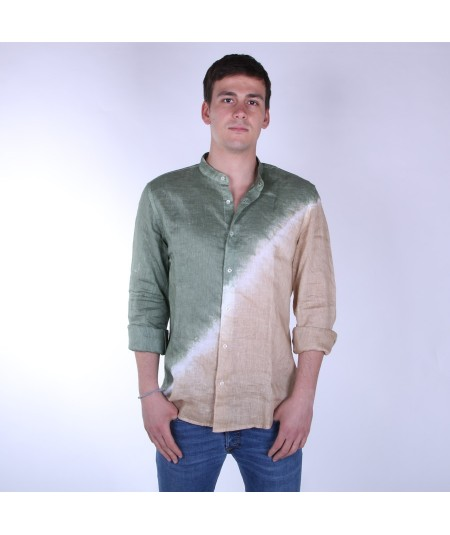 ALTEA CAMICIA COREANA IN LINO DEGRADE' 4010 VERDE E BEIGE