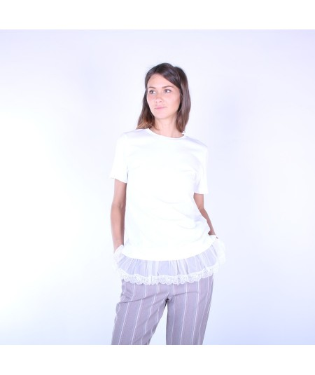 SEMICOUTURE T-SHIRT JARRY CON PIZZO S9PF02/A01 AVORIO
