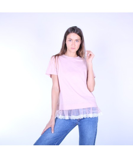 SEMICOUTURE JARRY TSHIRT WITH LACE S9PF02 E92 ANTIQUE ROSE