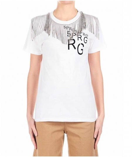 5 PROGRESS T-SHIRT CON FRANGE SWAROVSKY 1091 BIANCO