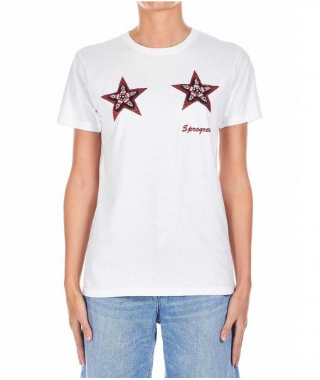 5 PROGRESS T-SHIRT CON STELLE SWAROVSKY 1170 ROSSO