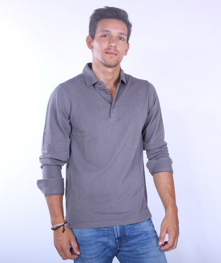 SUN68 COLD DYE POLO A40102 IRON GREY