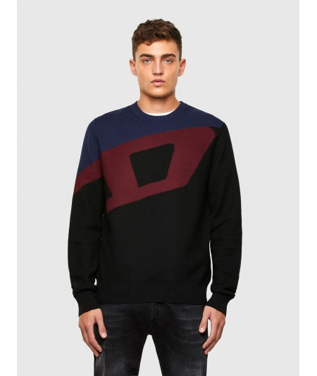 DIESEL MEN'S SWEATER WITH D INTARSIA K-ZAC/BAT