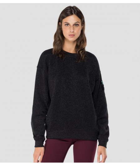 REPLAY ROSE LABEL CREWNECK SWEATSHIRT W3551B.000.22672 BLACK LUREX