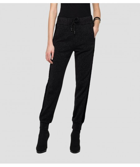 REPLAY COTTON TROUSERS W8530A.000.22672 LUREX BLACK
