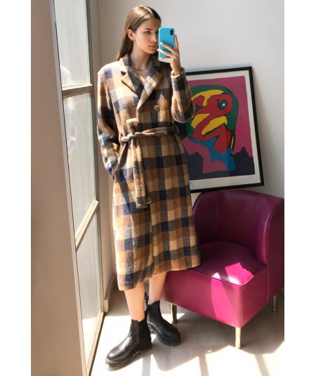 SEMICOUTURE CHECK COAT YOWH05 BEIGE AND BLUE