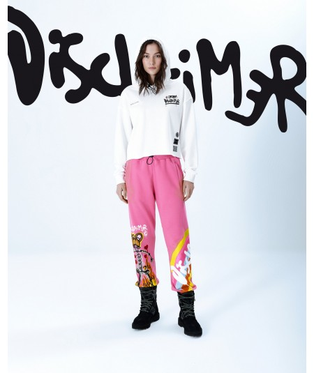 DISCLAIMER FLEECE TROUSERS WITH SCREEN PRINTING FLUO PINK