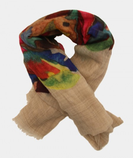 SCARF BY MONDRIAN BEIGE WITH COLOR PATTERN