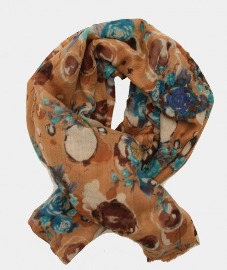 SCARF BY MONDRIAN COFFEE COLOR WITH EMBROIDERED FLOWERS AND LIGHT BLUE AND BEIGE PATTERN