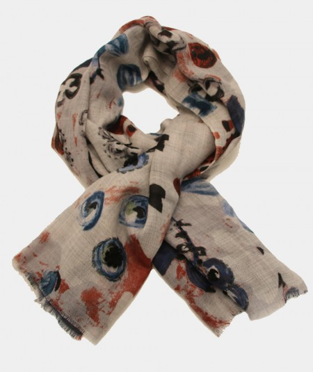 SCARF BY MONDRIAN GREY WITH EMBROIDERED FLOWERS AND COLD COLORS PATTERN