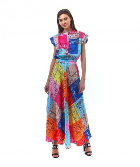 5PROGRESS LONG DRESS WITH MULTICOLOR BANDANAS PRINT 762