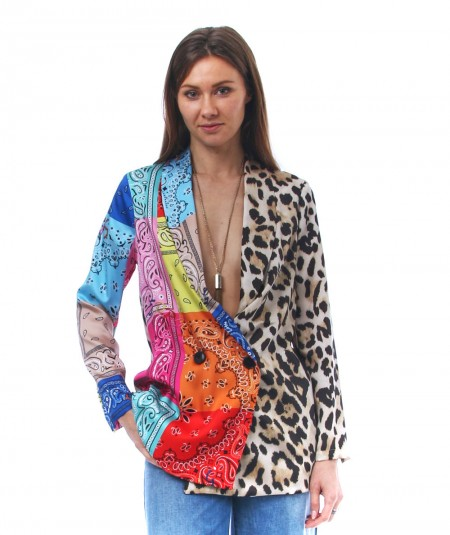 5PROGRESS JACKET WITH LEOPARD AND MULTICOLOR BANDANAS PRINT 764