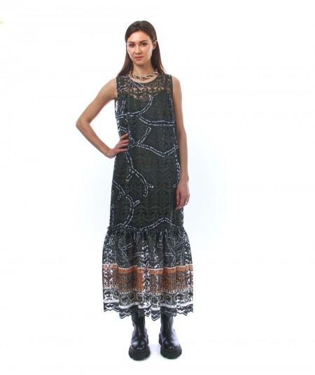 D. EXTERIOR LONG DRESS WITH DEVORE' AFRICA TEXTILE 50723