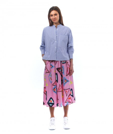 CAMICETTA SNOB PINK SKIRT WITH GEOMETRICAL MULTICOLOR PATTERN 34093